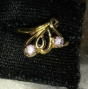 """Vintage Gold Pink Stone Ring Marked """"COP 92 c C """""""